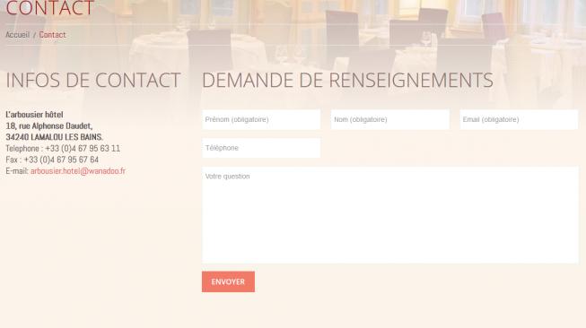 Formulaire contact Arbousier Hôtel